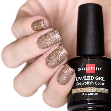 0744 GEL POLISH COLOR Цветной UV/LED гель-лак, 12мл ''golden sparkles''