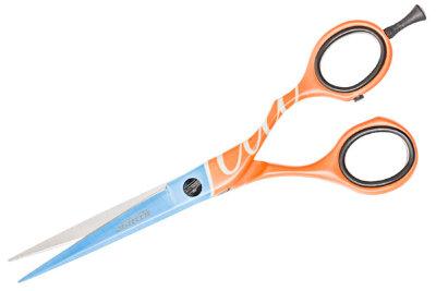 Ножницы для стрижки Fluo оранжево-синие