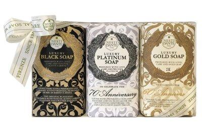 ND Набор мыла Юбилейное золотое + Юбилейное платиновое + Роскошное чёрное 3*250 гр