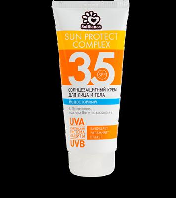 Солнцезащитный, водостойкий крем «SOLBIANCA 35 SPF»для лица и тела 200мл