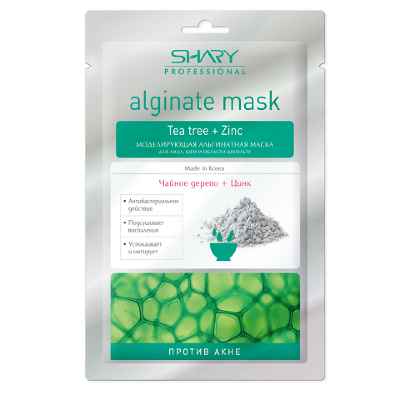 """Моделирующая альгинатная маска SHARY для лица, шеи, декольте """"Против Акне"""" Чайное дерево и Цинк28г"""