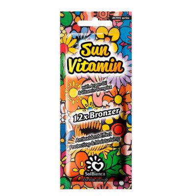 """Крем для загара в солярии """"Sun Vitamin"""" с маслом арганы, витамином Е и  бронзаторами """"12"""" 15 мл"""